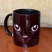 """Посуда ручной работы. Ярмарка Мастеров - ручная работа Кружка """"Чёрный кот"""". Handmade."""