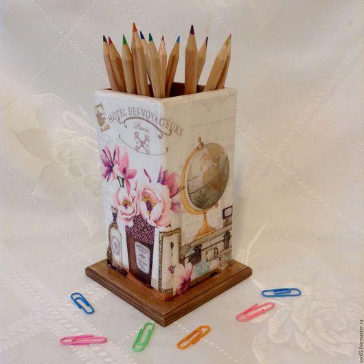 Карандашницы ручной работы. Ярмарка Мастеров - ручная работа. Купить Подставка для карандашей Школьная  Декупаж. Handmade. Комбинированный, стакан для карандашей