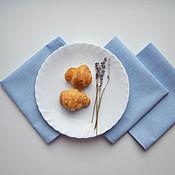 Для дома и интерьера ручной работы. Ярмарка Мастеров - ручная работа Салфетки льняные голубые для сервировки стола, сервировочные салфетки. Handmade.