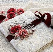 Свадебный салон handmade. Livemaster - original item Set wedding folder properties box for rings white Burgundy. Handmade.