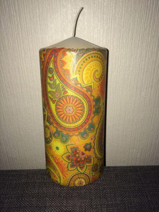 Свечи ручной работы. Ярмарка Мастеров - ручная работа. Купить Свеча узорная. Handmade. Разноцветная свеча, цветочный узор, пестрый
