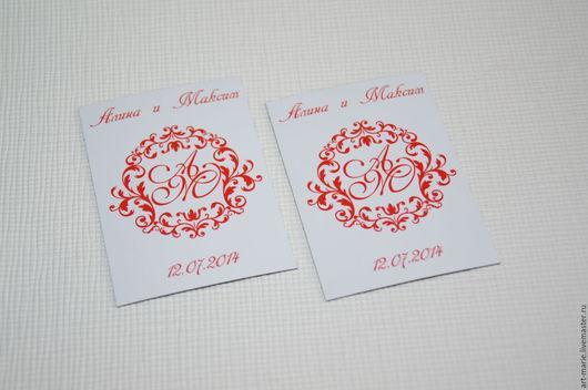 Магниты ручной работы. Ярмарка Мастеров - ручная работа. Купить Red Monogram... Свадебные магниты для гостей. Handmade. Свадебные магниты