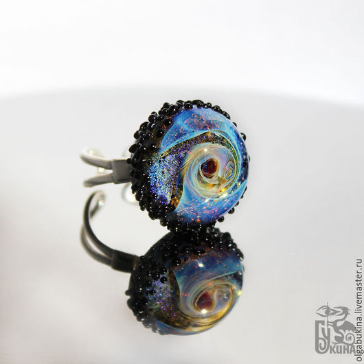 Кольца ручной работы. Ярмарка Мастеров - ручная работа. Купить Безразмерное кольцо Астероид. Космос в стекле Галактика Черный Голубой. Handmade.