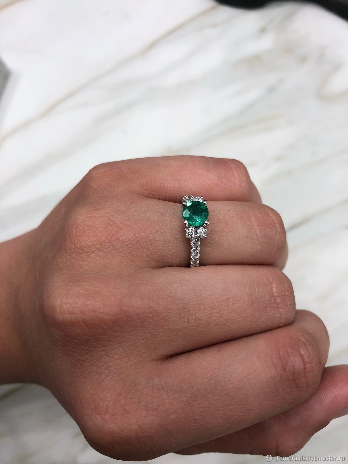 Round Colombian Emerald & Diamond Halo Engagement Ring 14K, Emerald Co, Rings, West Palm Beach,  Фото №1