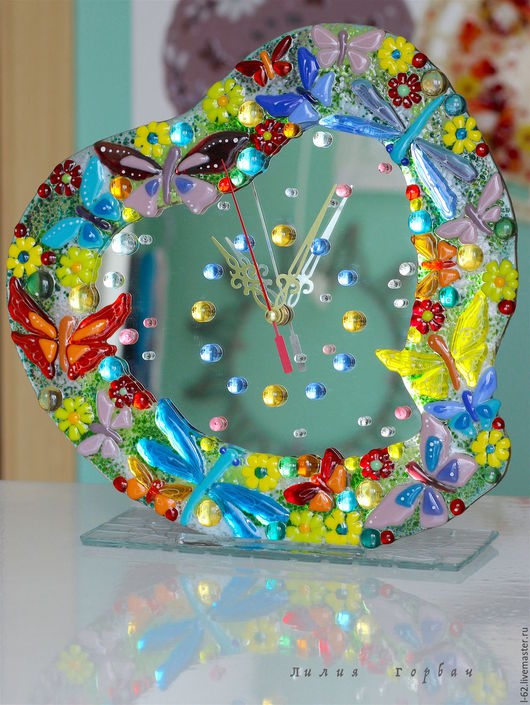 Clocks for Home handmade. Livemaster - handmade. Buy watch glass, fusing Good heart mom.Glass, watch glass