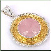 Украшения ручной работы. Ярмарка Мастеров - ручная работа Кулон серебряный с розовым кварцем. Handmade.