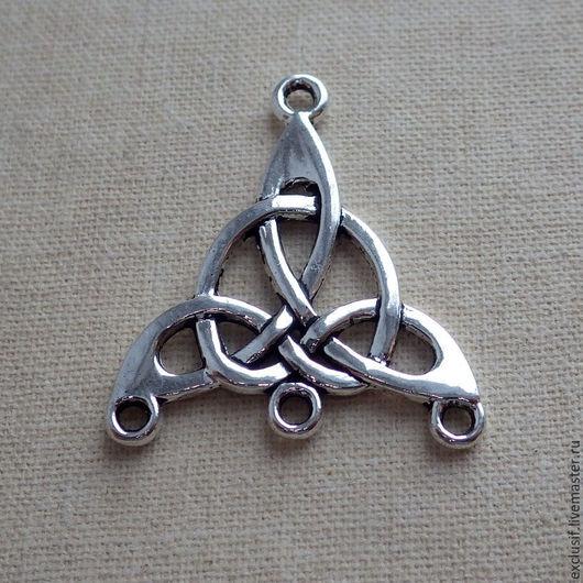 Фурнитура для создания украшений - кельтский узел коннектор подвеска на 4 нити, коннектор для розария, серег, браслета, кулона в кельтском стиле.