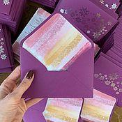 Подарочные конверты ручной работы. Ярмарка Мастеров - ручная работа Конверт ФИОЛЕТОВЫЙ (насыщенно-лиловый) из дизайнерской бумаги. Handmade.