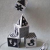 """Кубики и книжки ручной работы. Ярмарка Мастеров - ручная работа Черно-белые кубики для самых маленьких """"Мои первые кубики"""". Handmade."""