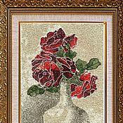 Материалы для творчества ручной работы. Ярмарка Мастеров - ручная работа Дизайн машинной вышивки Розы в вазе. Handmade.