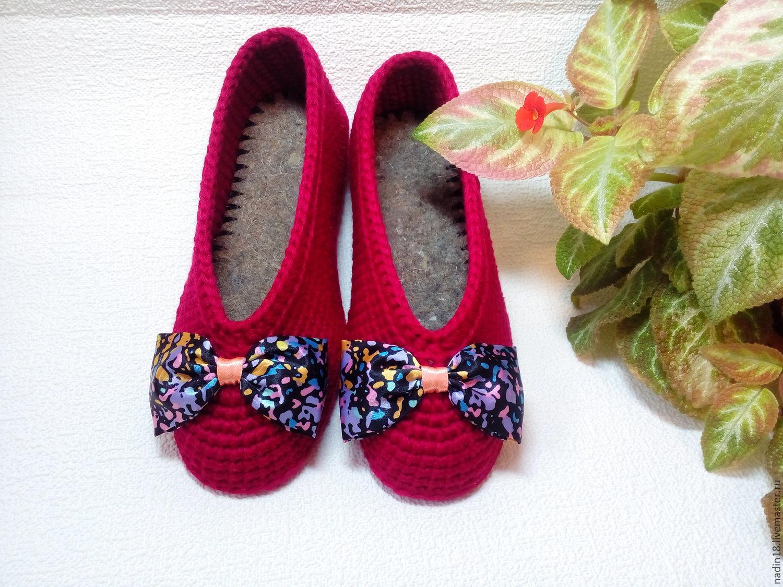 тапочки балетки женские кокетка вязаные крючком красные купить в