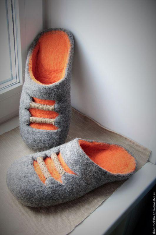"""Обувь ручной работы. Ярмарка Мастеров - ручная работа. Купить Тапочки """"Радиаторы"""". Handmade. Рыжий, 23 февраля, веревка, оранжевый"""