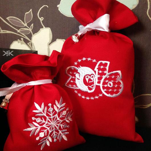 Новый год 2017 ручной работы. Ярмарка Мастеров - ручная работа. Купить Мешок из льна Обезьяна огненная Новый год 2016 красный. Handmade.