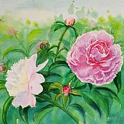 Pictures handmade. Livemaster - original item Pictures: Peonies, watercolor 30h40. Handmade.