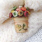 Украшения handmade. Livemaster - original item Brooch a Whole bucket of buttercups. Handmade.
