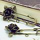 Для украшений ручной работы. Ярмарка Мастеров - ручная работа. Купить Булавка с петелькой Роза, античная бронза (1шт). Handmade.