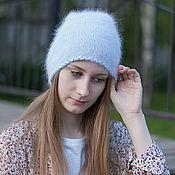 Аксессуары ручной работы. Ярмарка Мастеров - ручная работа Вязаная шапка Ангора Blue. Handmade.
