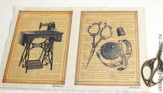 """Шитье ручной работы. Ярмарка Мастеров - ручная работа. Купить Купон-лен """"Старинные страницы 2"""". 20х30см.. Handmade. Лен"""