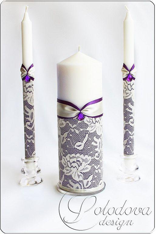 Свадебные свечи украшаем лентами кружевом
