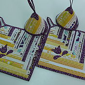 Для дома и интерьера ручной работы. Ярмарка Мастеров - ручная работа Набор прихваток лоскутных Сиреневые Цветы (4 предмета). Handmade.