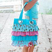 Сумки и аксессуары ручной работы. Ярмарка Мастеров - ручная работа Сумка голубая с оборками, летняя сумка. Handmade.