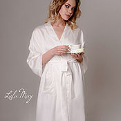 Свадебный салон handmade. Livemaster - original item Bride`s robe with embroidery on the pocket. Handmade.