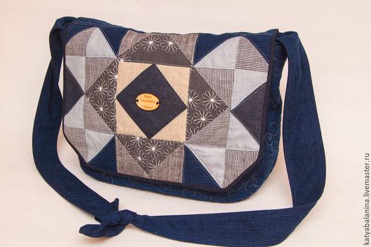 Женские сумки ручной работы. Ярмарка Мастеров - ручная работа. Купить Сумка лоскутная джинсовая. Handmade. Тёмно-синий, джинсовый
