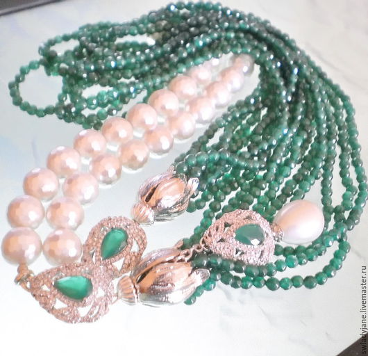 Колье, бусы ручной работы. Ярмарка Мастеров - ручная работа. Купить Шикарное ожерелье Изумрудная весна хризопраз жемчуг. Handmade.