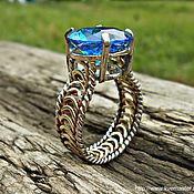 Кольца ручной работы. Ярмарка Мастеров - ручная работа Кольцо Морское кольцо море голубое кольцо с голубым камнем ажурное. Handmade.
