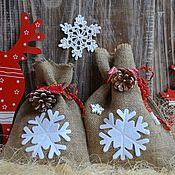Подарки к праздникам ручной работы. Ярмарка Мастеров - ручная работа Мешочки для новогодних подарков из мешковины, новогодняя упаковка. Handmade.
