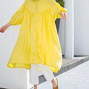 Одежда ручной работы. Ярмарка Мастеров - ручная работа яркое и комфортное платье жёлтого цвета с оригинальной кокеткой. Handmade.