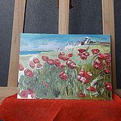 Картины ручной работы. Ярмарка Мастеров - ручная работа Маки в поле. Handmade.