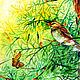"""Пейзаж ручной работы. Картина """"В лесу"""". Солнечное настроение (Юлия). Интернет-магазин Ярмарка Мастеров. Бабочка, птица, графика"""