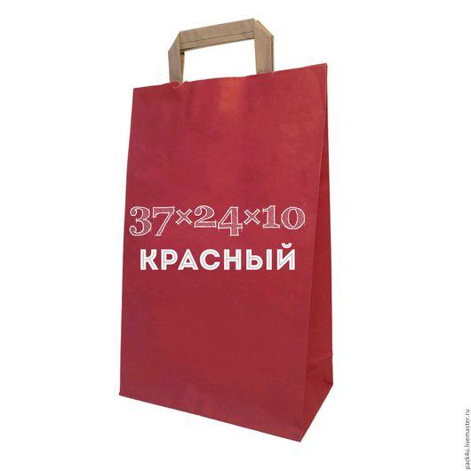 Упаковка ручной работы. Ярмарка Мастеров - ручная работа. Купить Красный крафт пакет с плоским ручками.. Handmade. Бордовый