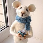 Куклы и игрушки ручной работы. Ярмарка Мастеров - ручная работа Приглашение к чаю.Игрушка из шерсти.Мышка.. Handmade.