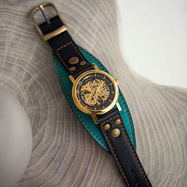 Украшения ручной работы. Ярмарка Мастеров - ручная работа Механические часы Aviator Ocean на кожаном браслете. Handmade.