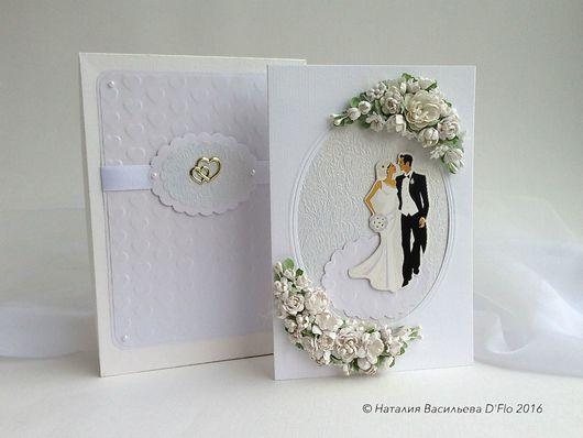 Авторская свадебная открытка в коробочке с местом для денежного подарка. Торжественная в белоснежной гамме.