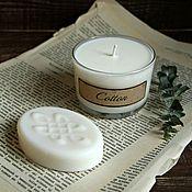 """Косметика ручной работы. Ярмарка Мастеров - ручная работа Подарочный набор """"Cotton"""" (свеча и мыло). Handmade."""