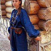 Рубаха женская льняная с филейным кружевом