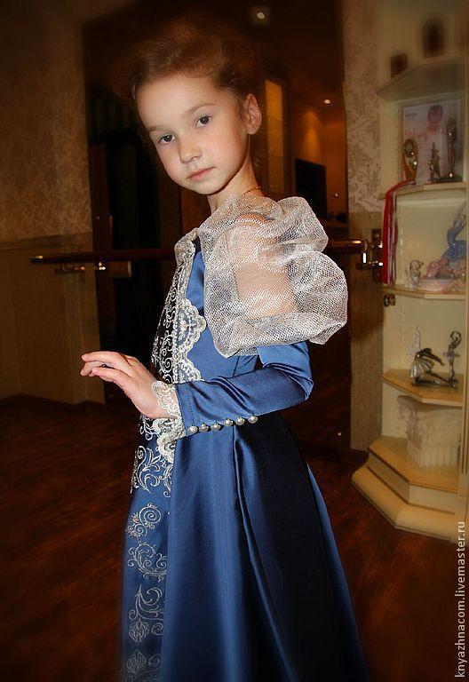 """Одежда для девочек, ручной работы. Ярмарка Мастеров - ручная работа. Купить Бальное платье """"Инфанта"""".. Handmade. Тёмно-синий, серебро"""