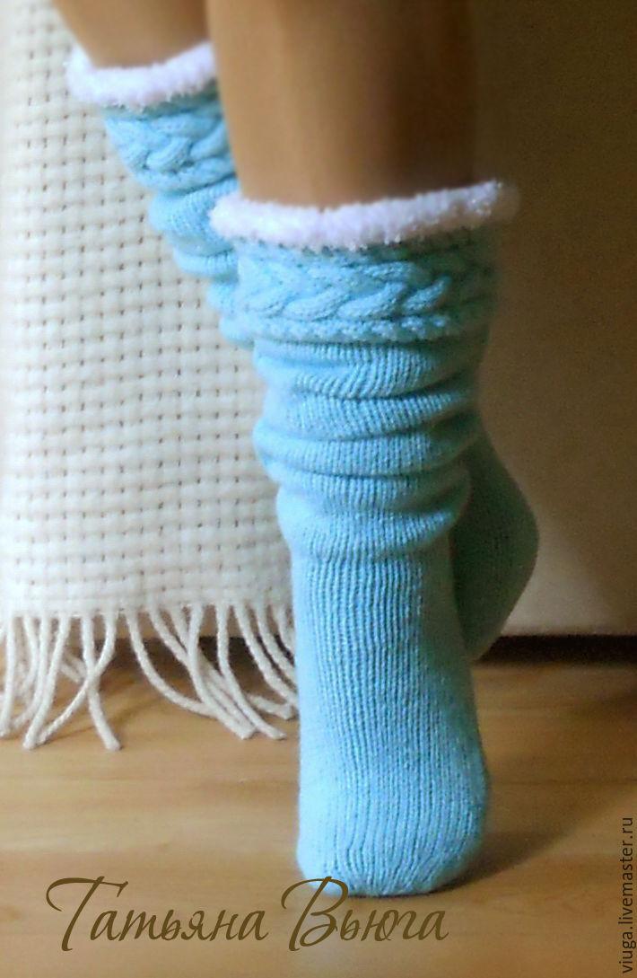 Длинные носки связанные спицами