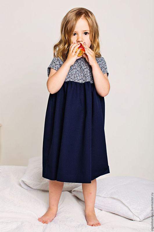"""Одежда для девочек, ручной работы. Ярмарка Мастеров - ручная работа. Купить Платье """"Винтаж"""". Handmade. Синий, винтаж, розы, эластан"""