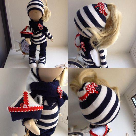 Куклы тыквоголовки ручной работы. Ярмарка Мастеров - ручная работа. Купить кукла морячка. Handmade. Тёмно-синий, трикотаж