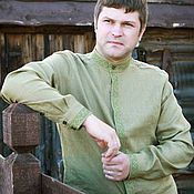 Одежда ручной работы. Ярмарка Мастеров - ручная работа Сорочка мужская с воротом-стойкой и вышивкой. Handmade.