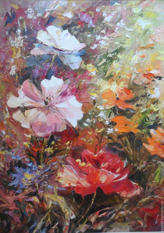 Картины цветов ручной работы. Ярмарка Мастеров - ручная работа. Купить живопись. Handmade. Комбинированный, Живопись, масло, ватман