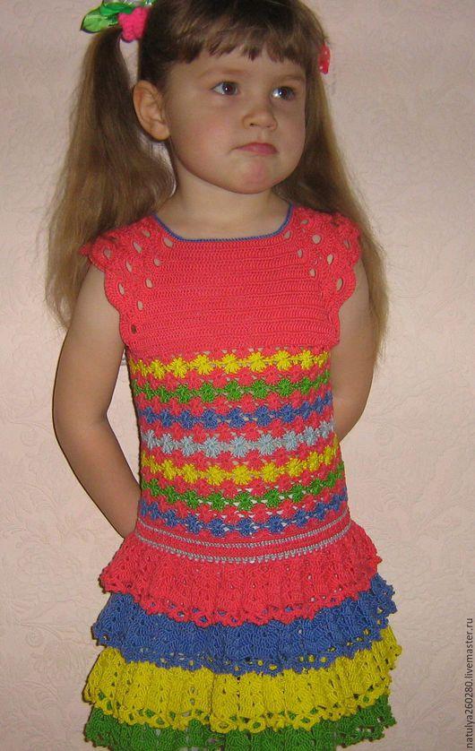 Одежда для девочек, ручной работы. Ярмарка Мастеров - ручная работа. Купить Ягодка-малинка. Handmade. Фуксия, цветочный, хлопок 100%