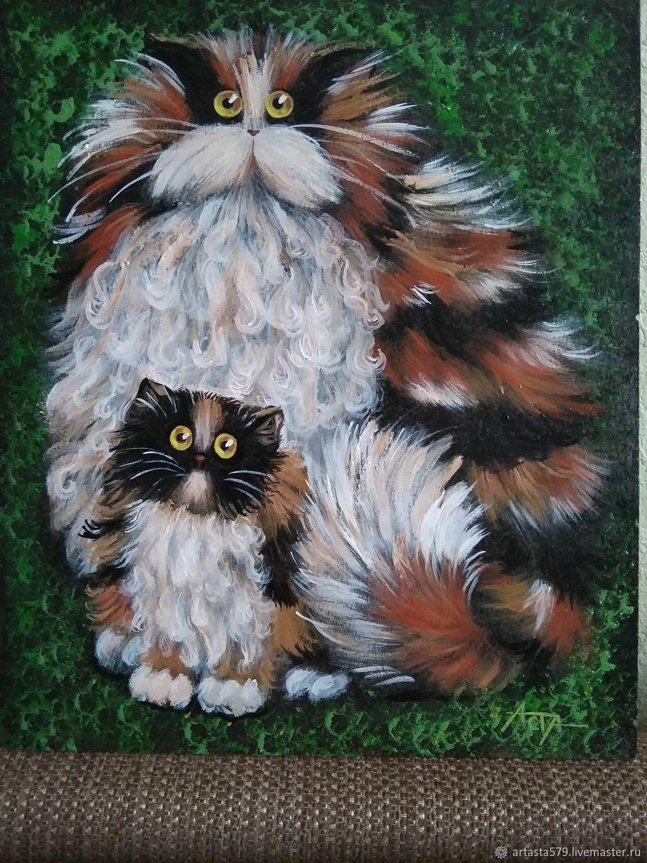 Кошка с котенком картина акрилом – купить на Ярмарке ...