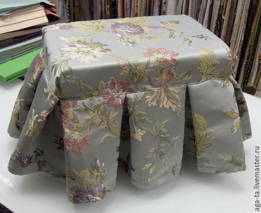 Готовый пуфик с поролоновой подушкой внутри.