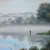Картины и панно ручной работы. Ярмарка Мастеров - ручная работа Озеро, туман, рыбак 2. Handmade.