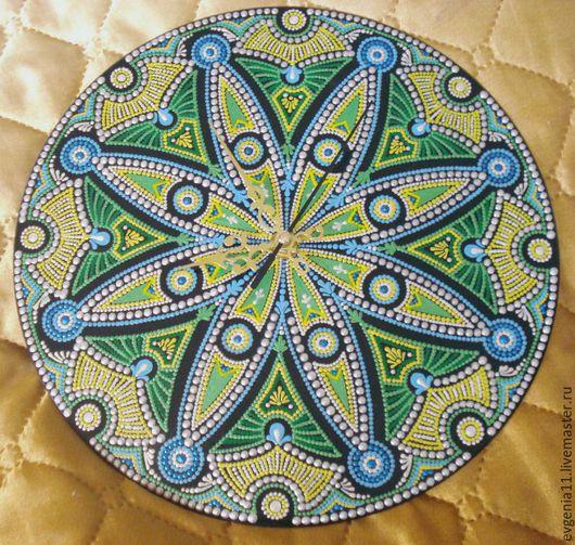 """Часы для дома ручной работы. Ярмарка Мастеров - ручная работа. Купить Часы """"Изумрудные искры"""". Handmade. Зеленый, часы"""